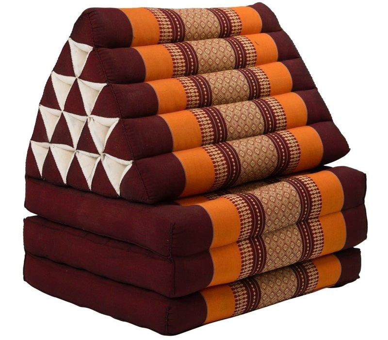 Thaikissen Dreieckskissen 3 Auflagen Kapokfüllung XL Burgunderrot Orange