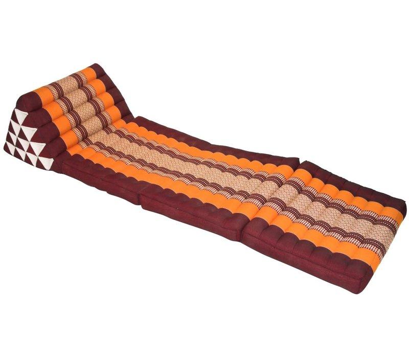 Colchón Tailandés de 3 Pliegues con Cojín Triangular Plegable XL Naranja Borgoña