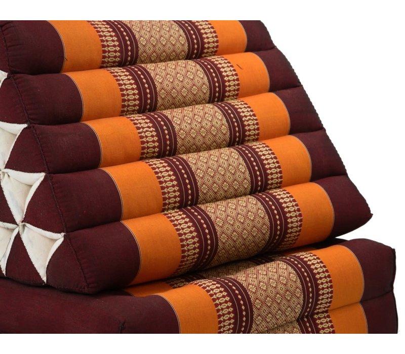 Coussin Thaï Triangulaire avec Matelas 3 Parties XL - 56x180cm - Rouge Orange