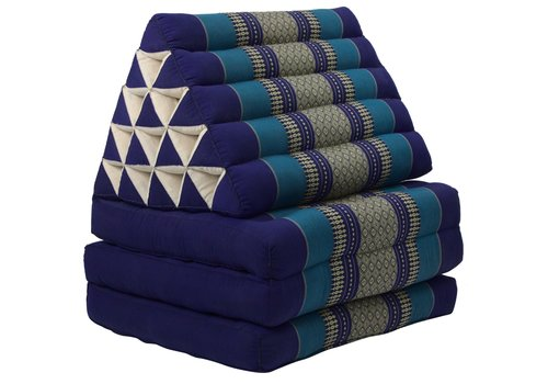 Fine Asianliving Coussin Thaï Triangulaire avec Matelas 3 Parties XL - 56x180cm - Océan Bleu