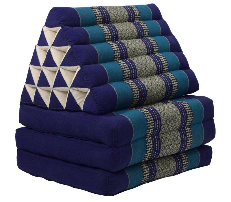 Colchón Tailandés de 3 Pliegues con Cojín Triangular Plegable XL Océano Azul