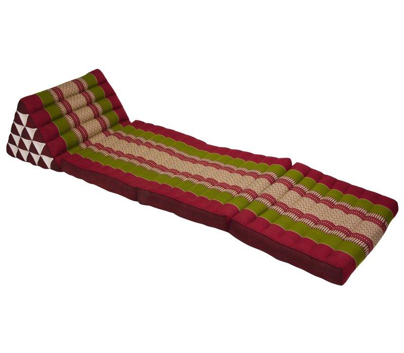 Thais Kussen Meditatie Driehoek Vloer Ligmat Yoga Uitklapbaar Kapok XL Bordeaux Groen