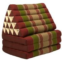 Thaikissen Dreieckskissen 3 Auflagen Kapokfüllung XL Burgunderrot Grün