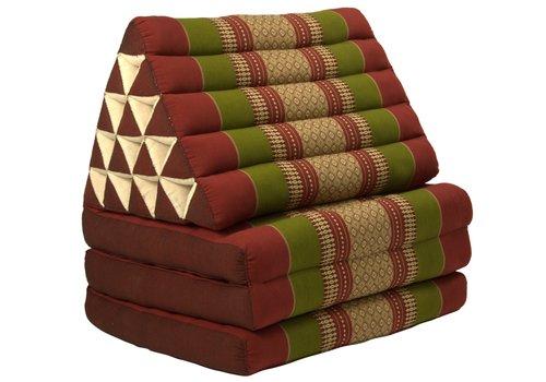 Fine Asianliving Coussin Thaï Triangulaire avec Matelas 3 Parties XL - 56x180cm - Rouge Vert