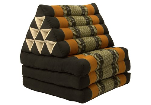 Fine Asianliving Colchón Tailandés de 3 Pliegues con Cojín Triangular Plegable Negro Naranja
