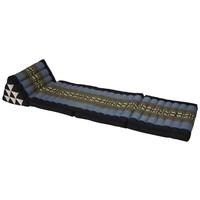 Fine Asianliving Thai Mattress Triangle Cushion Headrest 3-Fold Meditation Mat Lounge Kapok Black Grey Elephants
