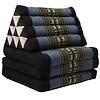 Fine Asianliving Fine Asianliving Thai Mattress Triangle Cushion Headrest 3-Fold Meditation Mat Lounge Kapok Black Grey Elephants