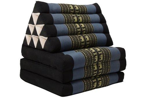 Fine Asianliving Coussin Thaï Triangulaire avec Matelas 3 Parties - 52x180cm - Noir Gris