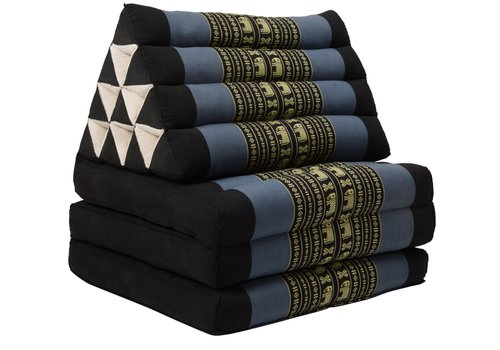 Fine Asianliving Thai Triangle Cushion Mattress Foldable Standard Black Grey Elephants