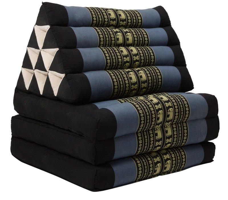 Cuscino Triangolare con Materasso Piegato in 3 Nero Grigio Elefanti