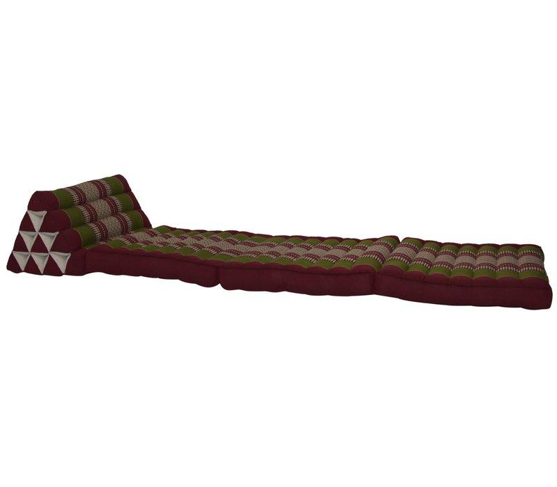 Cuscino Materasso Thailandese Triangolare 52x180cm Kapok Rosso Verde