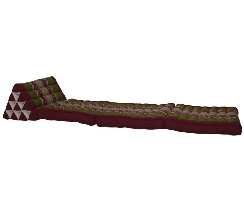 Fine Asianliving Thai Mattress Triangle Cushion Headrest 3-Fold Meditation Mat Lounge Kapok Burgundy Green