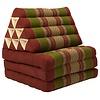 Fine Asianliving Fine Asianliving Thai Mattress Triangle Cushion Headrest 3-Fold Meditation Mat Lounge Kapok Burgundy Green