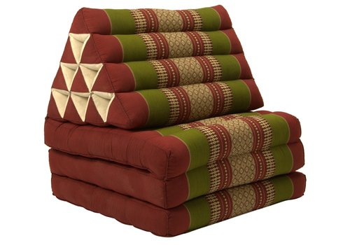 Fine Asianliving Colchón Tailandés de 3 Pliegues con Cojín Triangular Plegable Rojo Verde