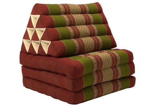 Fine Asianliving Coussin Thaï Triangulaire avec Matelas 3 Parties - 52x180cm - Rouge Vert