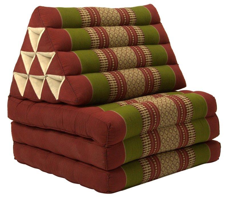 Thais Kussen Meditatie Driehoek Vloer Ligmat Yoga Uitklapbaar Bordeaux Groen