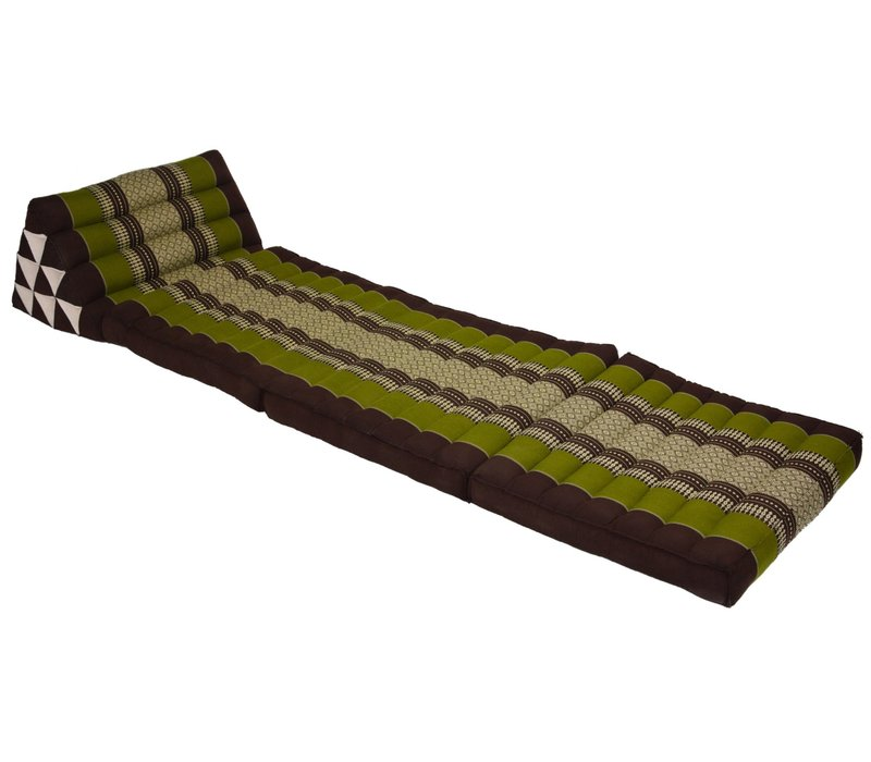 Thai Mattress Triangle Cushion Headrest 3-Fold Meditation Mat Lounge Kapok Green