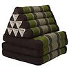 Fine Asianliving Thai Mattress Triangle Cushion Headrest 3-Fold Meditation Mat Lounge Kapok Green