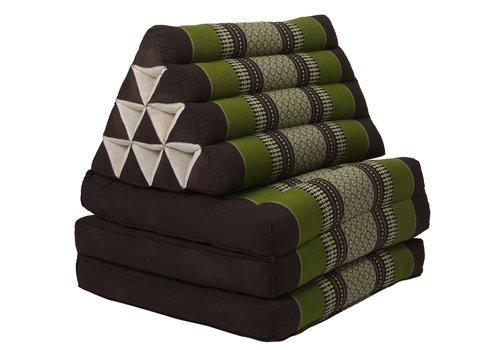 Fine Asianliving Coussin Thaï Triangulaire avec Matelas 3 Parties - 52x180cm - Vert