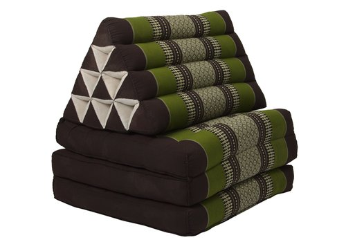Fine Asianliving Fine Asianliving Thai Mattress Triangle Cushion Headrest 3-Fold Meditation Mat Lounge Kapok Green