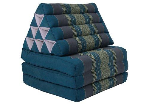 Fine Asianliving Thai Kissen mit Dreieck-Kissen 3 Auflagen Falt-Matratze Boden-Liege-Matte Sitzkissen Thaimatte Kapok Blau