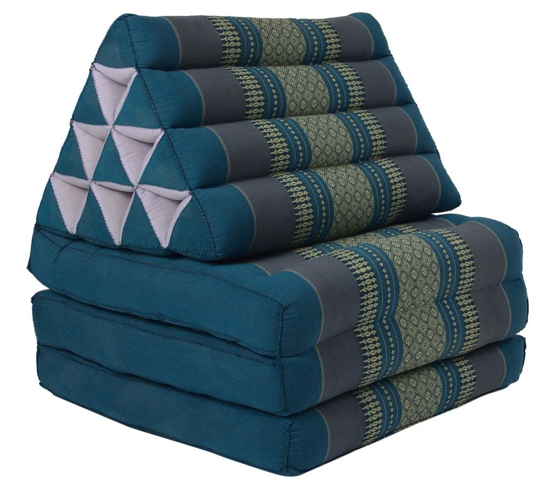 Thai Mattress Triangle Cushion Headrest 3-Fold Meditation Mat Lounge Kapok Blue