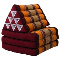 Colchón Tailandés de 3 Pliegues con Cojín Triangular Plegable Rojo Naranja