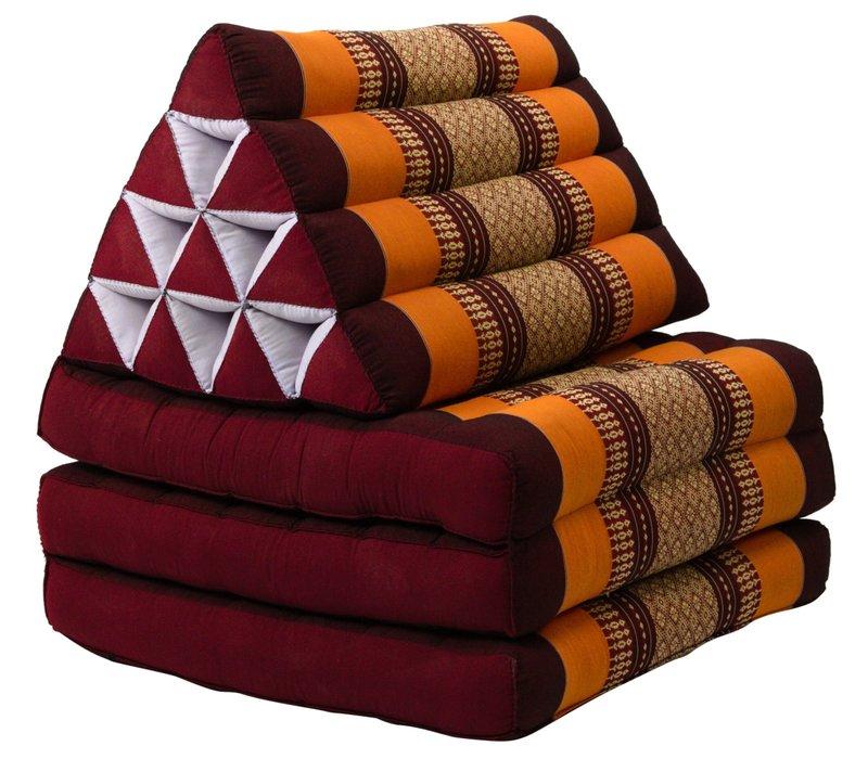 Coussin Thaï Triangulaire avec Matelas 3 Parties - 52x180cm - Rouge Orange