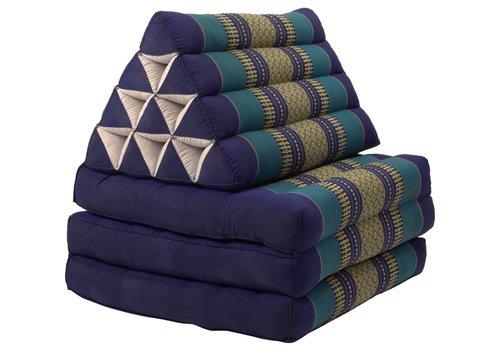 Fine Asianliving Coussin Thaï Triangulaire avec Matelas 3 Parties - 52x180cm - Océan Bleu