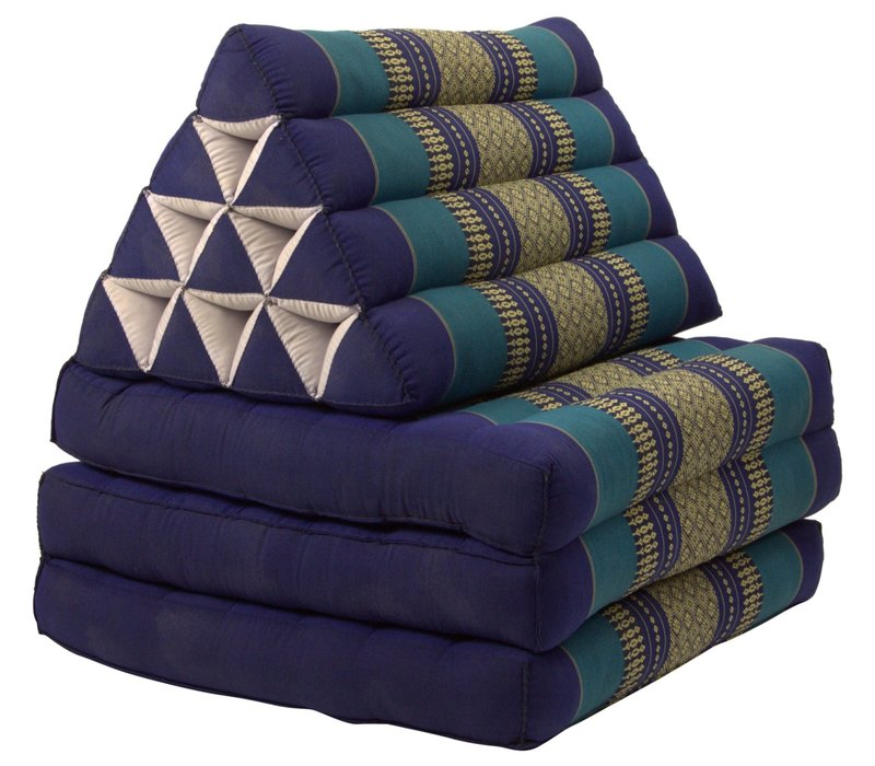 Coussin Thaï Triangulaire avec Matelas 3 Parties - 52x180cm - Océan Bleu