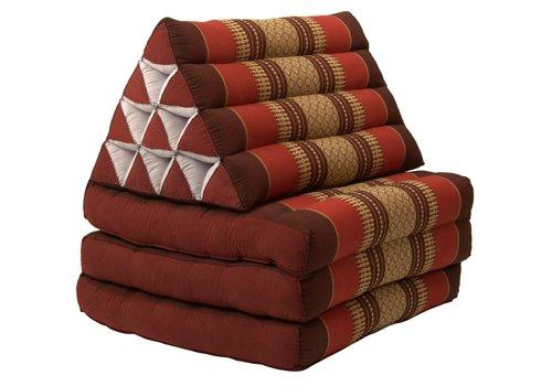 Fine Asianliving Coussin Thaïlandais Triangulaire Matelas 3 Parties 52x180cm Bordeaux Rouge