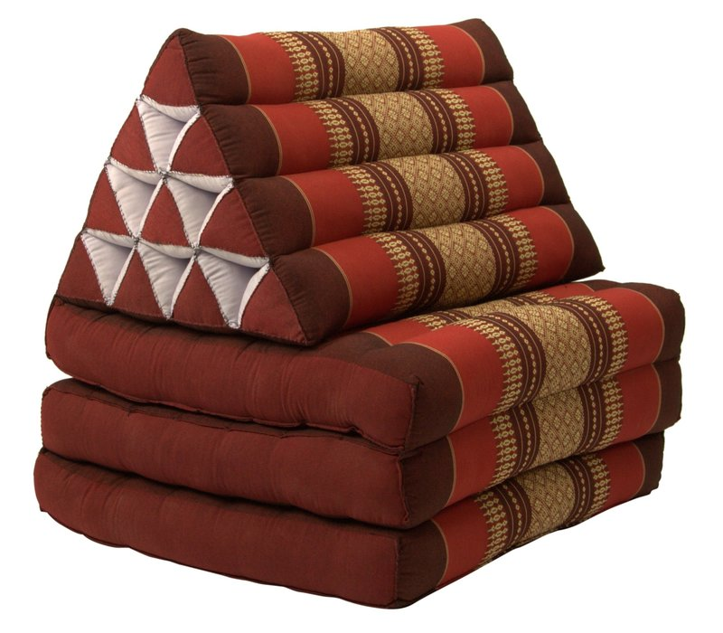 Thai Mattress Triangle Cushion Headrest 3-Fold Meditation Mat Lounge Kapok Burgundy Red