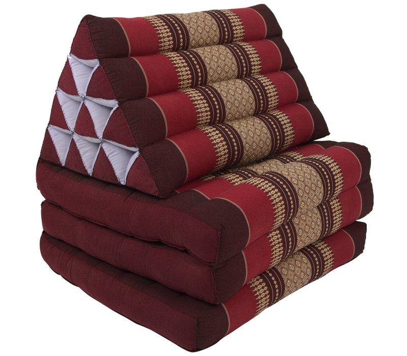 Fine Asianliving Thai Mattress Triangle Cushion Headrest 3-Fold Meditation Mat Lounge Kapok Bordeaux Red