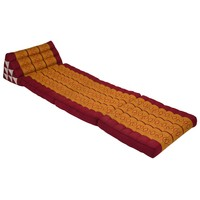 Thai Mattress Triangle Cushion Headrest 3-Fold Meditation Mat Lounge Kapok Thai Orange
