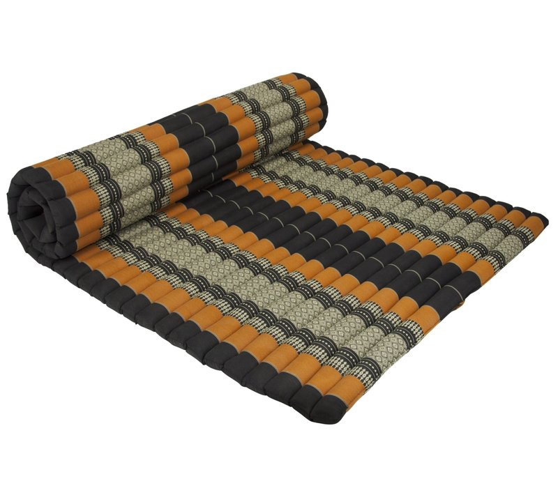 Thai Mat Rollable Matress 200x100x4.5cm Black Orange