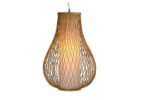 Fine Asianliving Lámpara de Techo Colgante de Bambú Hecha a Mano - Ámbar