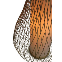 Bamboo Light Pendant Lampshade Handmade - Amber