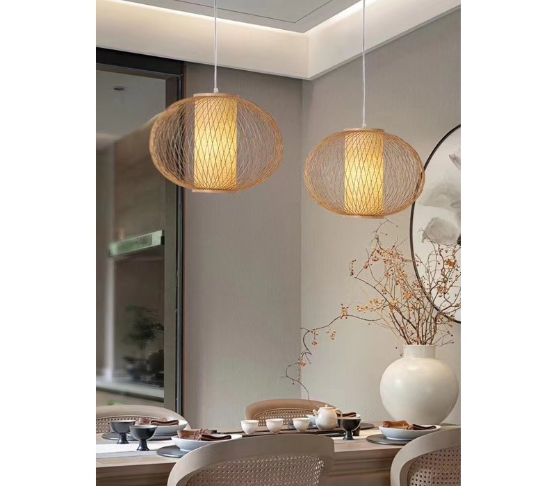 Fine Asianliving Ceiling Light Pendant Lighting Bamboo Lampshade Handmade - Sophia