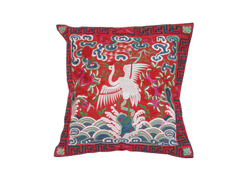 Fine Asianliving Chinese Cushion Cover 40x40cm Hand-embroidered Red Crane without Filling
