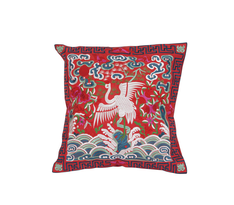 Chinese Cushion Cover 40x40cm Hand-embroidered Red Crane without Filling