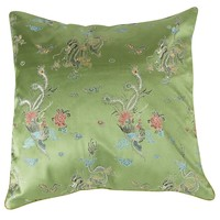 Fine Asianliving Chinese Cushion Green Dragons 40x40 No Cotton Filling