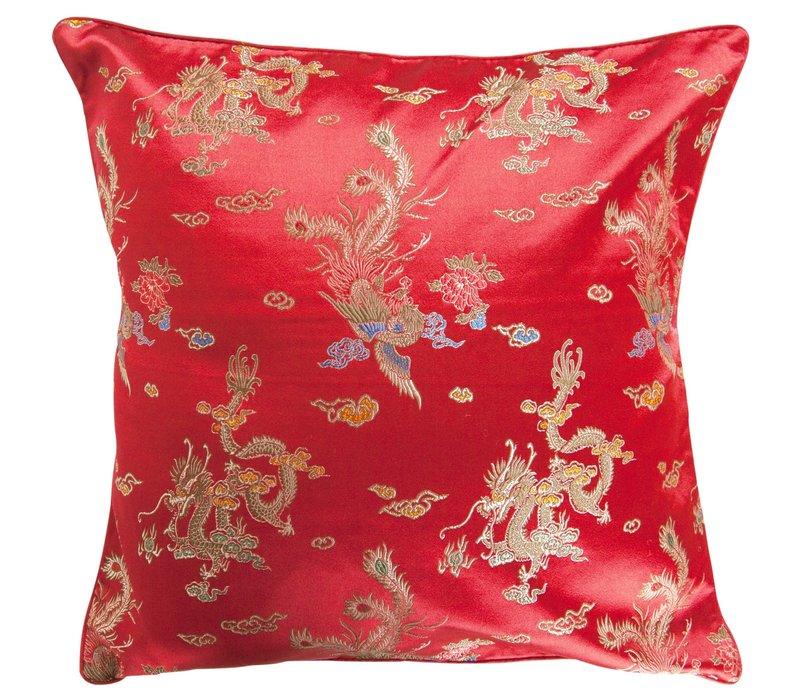 Chinesisches Kissenbezug Rot Drache 40x40cm ohne Füllung