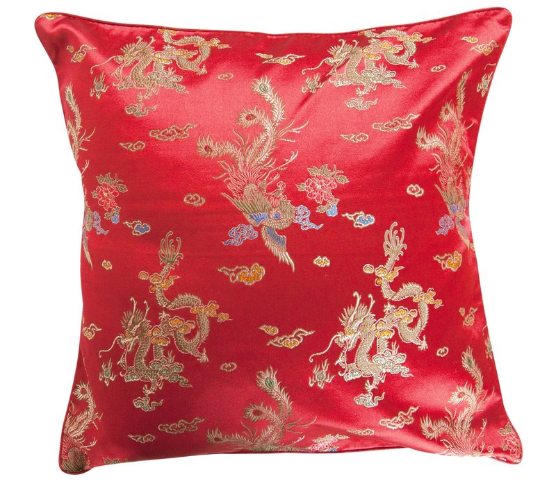 Coussin Chinois Rouge Dragon 40x40cm