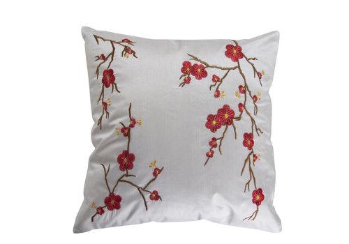 Fine Asianliving Coussin Chinois Blanc Cerisier en Fleurs 40x40cm