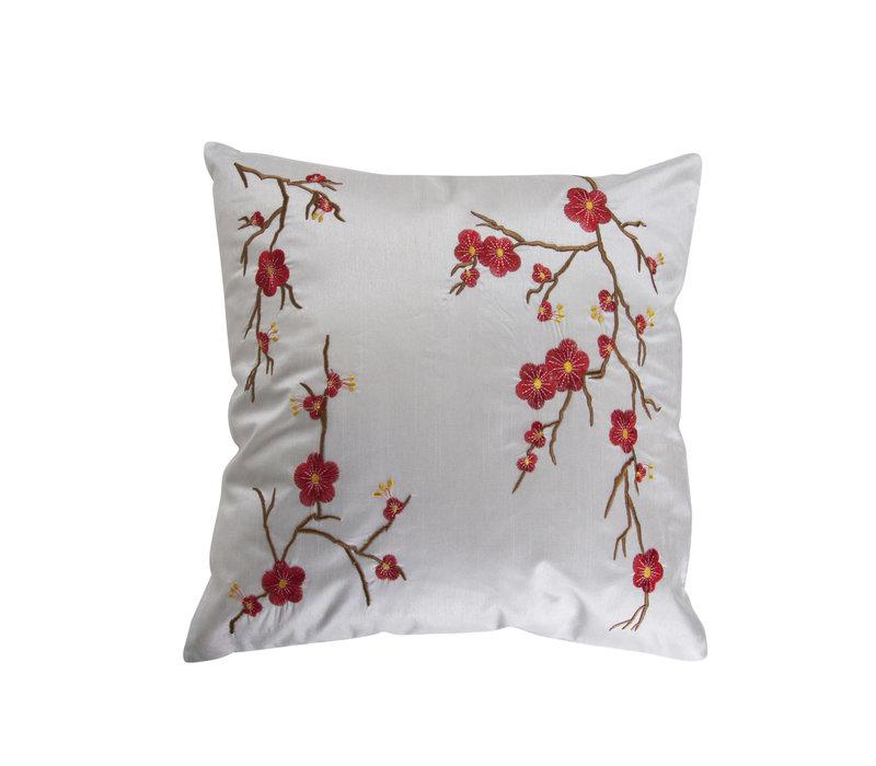 Chinesisches Kissen Weiß Kirschblüten 40x40cm