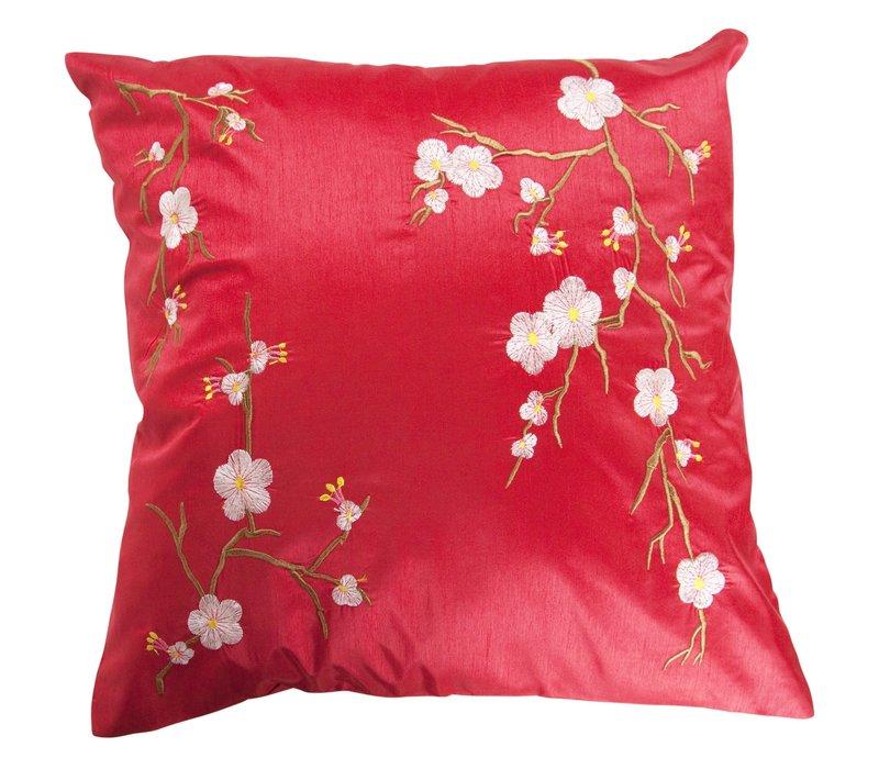 Housse de Coussin Chinoise Rouge Cerisier en Fleurs 40x40cm