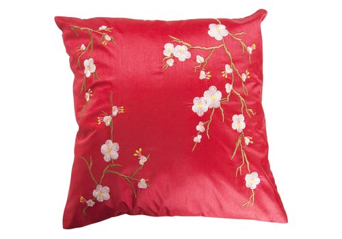 Fine Asianliving Chinese Cushion Sakura Cherry Blossoms Red 40x40cm