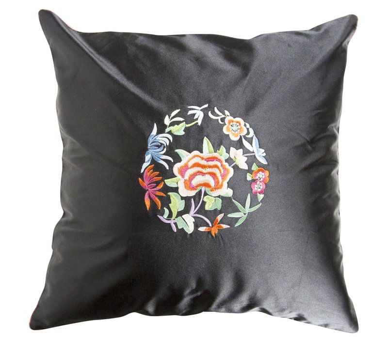 Fine Asianliving Chinese Cushion Cover Black Flowers 40x40cm without Filling