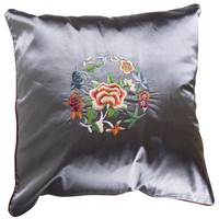 Fine Asianliving Chinese Cushion Lilac Grey Flowers 40x40cm