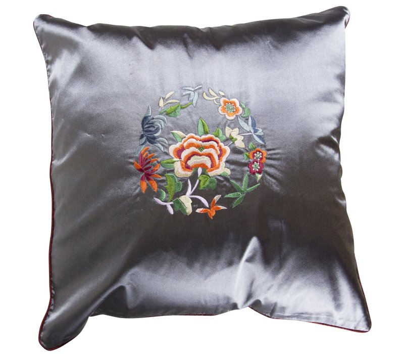 Chinese Cushion LilacGrey Flowers 40x40cm